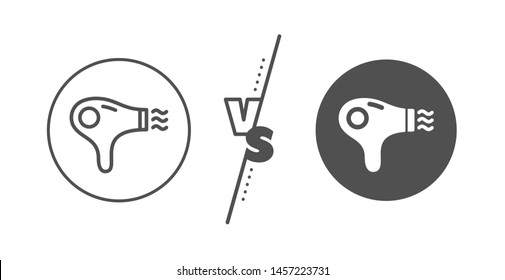 Hairdryer sign. Versus concept. Hair dryer line icon. Hotel service symbol. Line vs classic hair dryer icon. Vector