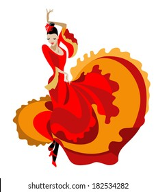 Haired flamenco dancer in a bright dress