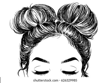 hairstyle double buns
