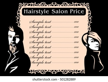 Hairstyle hair salon price. Vector fashion hand drawn portrait woman and beard man face silhouette on black background. Beauty illustration. Vintage design.