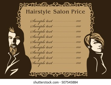 Hairstyle hair salon price. Vector fashion hand drawn portrait woman and beard man face silhouette. Beauty illustration old vintage design menu.