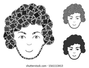 Hairstyle head mosaic of humpy pieces in various sizes and shades, based on hairstyle head icon. Vector irregular pieces are composed into collage. Hairstyle head icons collage with dotted pattern.