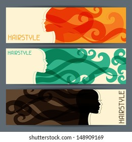 Hairstyle horizontal banners.
