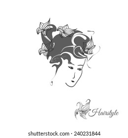 Hairstyle logo. Beautiful woman silhouette. Flowers in hair