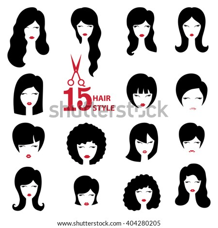 hair style clip art hairstyle silhouette set womangirlfemale facehair 7294 | hairstyle silhouette setwomangirlfemale facehairbeauty vectorflat 450w 404280205