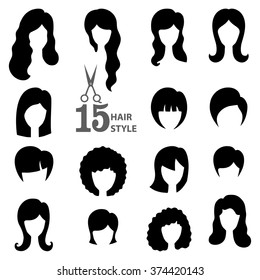 Hairstyle silhouette.Woman,girl,female hair.Beauty Vector,flat black icons.Beautiful  style,avatars,fashion look set.Various hair,haircut,styling.Trendy flat style.Fashion vector,image,look,salon logo