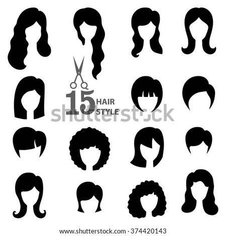 Hairstyle Silhouette Womangirlfemale Hair Beauty Vectorflat Black