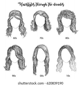 Hairstyles by decades from 60s to 10s vector illustration
