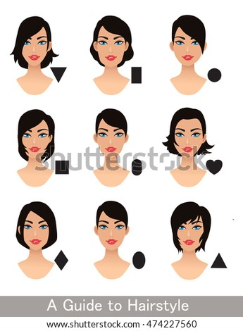 Hairstyles Different Face Shapes Short Haircut Stock Vector Royalty