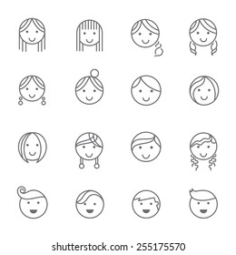Hairstyles emotions line icons.