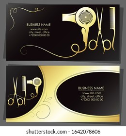 Hairstylist scissors comb and hair dryer golden business card