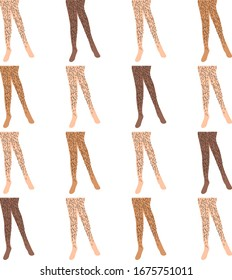 hairy legs seamless  pattern. Vector image of the female body. Vector simple illustration of hair on a woman's body. body-positive concept, symbol of freedom from shaving. EPS 10.