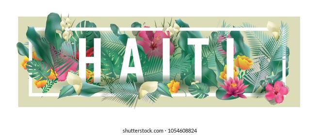 Haiti City Typographic Floral Framed Vector Card Design