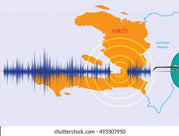 Haiti Earthquake concept. Editable Clip Art.