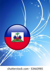 Haiti Flag Button on Abstract Light Background Original Illustration