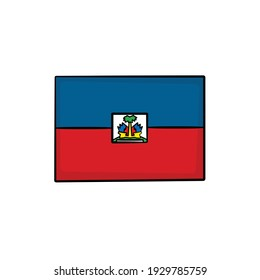 Haiti flag in drawing style isolated vector. Hand drawn object illustration for your presentation, teaching materials or others.
