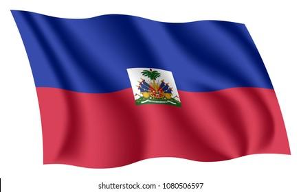Haiti flag. Isolated national flag of Haiti. Waving flag of the Republic of Haiti. Fluttering textile haitian flag. Bicolour.