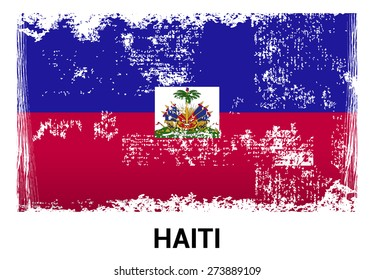 Haiti grunge flag isolated vector in official colors and Proportion Correctly. country's name label in bottom