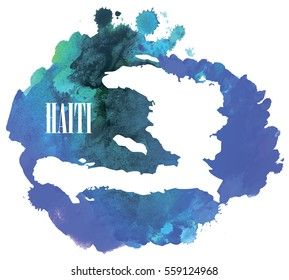 Haiti. High detailed vector maps. Spray watercolor paint.