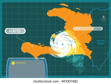 Haiti with a Hurricane making a landfall at capital Port-au-prince . Editable Clip Art.