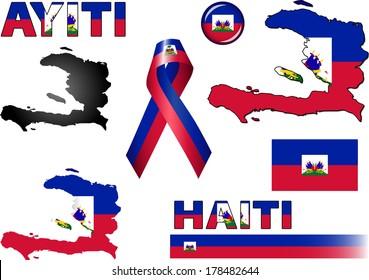 Haiti Icons. Set of vector graphic images and symbols representing Haiti. The text says 'Haiti' in Haitian Creole.