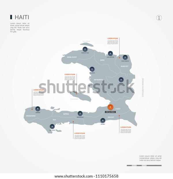 Haiti Map Borders Cities Capital Portauprince Stock Vector (Royalty ...