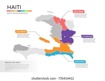 Haiti map infographics vector template with regions and pointer marks