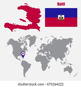 Dominican republic map on world map stock vector hd royalty free haiti map on a world map with flag and map pointer vector illustration gumiabroncs Choice Image
