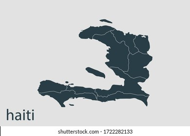 haiti map vector, Abstract design vector illustration Eps 10. Navy color.High Detailed on white background.