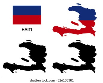 Haiti map vector, Haiti flag vector, isolated Haiti