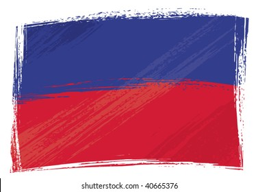 Haiti national flag created in grunge style