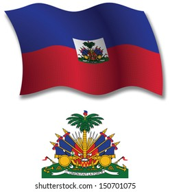 haiti shadowed textured wavy flag and coat of arms against white background, vector art illustration, image contains transparency transparency