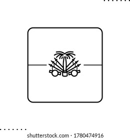 haiti state square flag, vector icon in outlines