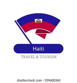 Haiti The Travel Destination logo - Vector travel company logo design - Country Flag Travel and Tourism concept t shirt graphics - vector illustration