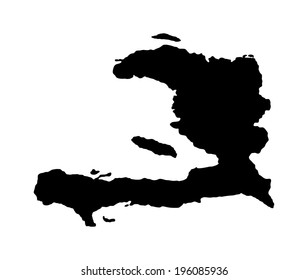 Haiti vector map silhouette isolated on white background. High detailed silhouette illustration.