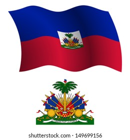 haiti wavy flag and coat of arms against white background, vector art illustration, image contains transparency