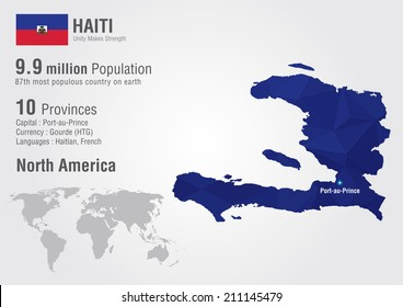 Haiti on world map images stock photos vectors shutterstock haiti world map with a pixel diamond texture world geography gumiabroncs Images