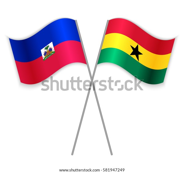 Haitian and Ghanaian crossed flags. Haiti combined with Ghana isolated on white. Language learning, international business or travel concept.