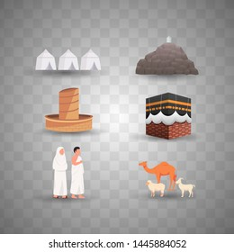 Hajj Illustration Set, Icon Infographic of Pilgrimage Illustration
