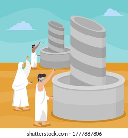 Hajj islamic pilgrimage ritual guide during pandemic covid-19. Flat style vector illustration of muslim characters stoning of the devil at Jamarat while wearing mask to prevent corona virus spread.