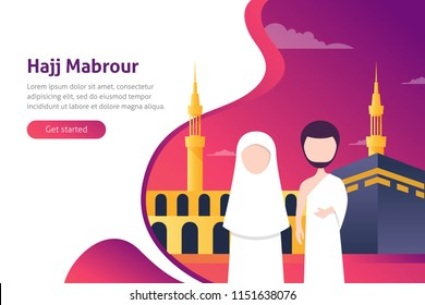 Hajj Mabroor Greeting in Arabic Calligraphy Vector. Translated as: May Allah accept your pilgrimage and forgive your sins