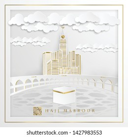 Hajj Mabrour arabic calligraphy islamic greeting with kaaba, glowing gold moon, crescent & arabic pattern - Translation of text : Hajj (pilgrimage) May Allah accept your Hajj and grant you forgiveness
