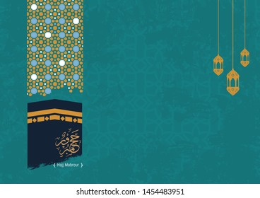 Hajj Mabrour background with kaabah and arabic calligraphy is spelled ''Hajj Mabrour'' which means ''An accepted pilgrimage . Blue islamic occasions eid ul adha or eid ul fitr