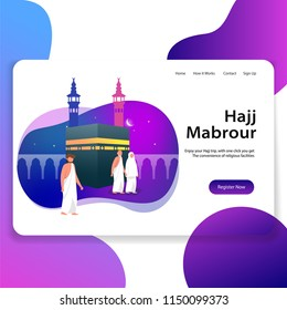 Hajj Mabrour Landing Page Web Illustration