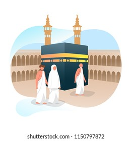 Hajj Muslim Around Kaaba Islamic Greeting Vector Illustration