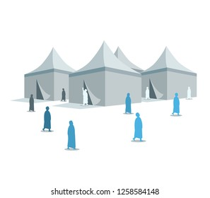 Hajj pilgrimage silhouette on Mina tents area. One of Islam's sacred pilgrimage route. Suitable for info graphic.