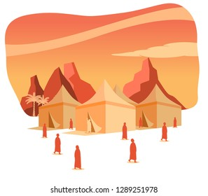 Hajj pilgrimage silhouette on Mina tents area at dawn. One of Islam's sacred pilgrimage route. Suitable for info graphic.
