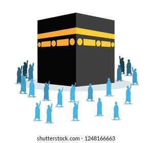 Hajj pilgrimage silhouette walk and pray around Kabaa.