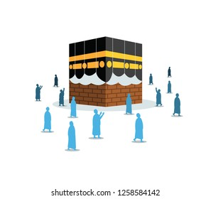 Hajj pilgrimage silhouette walk and pray around opened Kabaa. Suitable for info graphic.