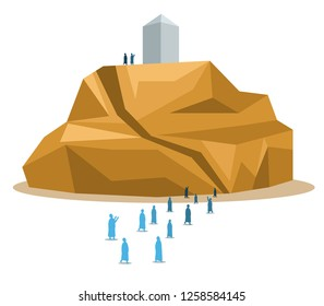 Hajj pilgrimage silhouette walking to Arafat hill. One of Islam's sacred pilgrimage route. Suitable for info graphic.